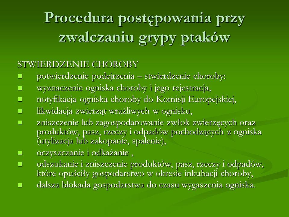 Procedura postępowania przy zwalczaniu grypy ptaków