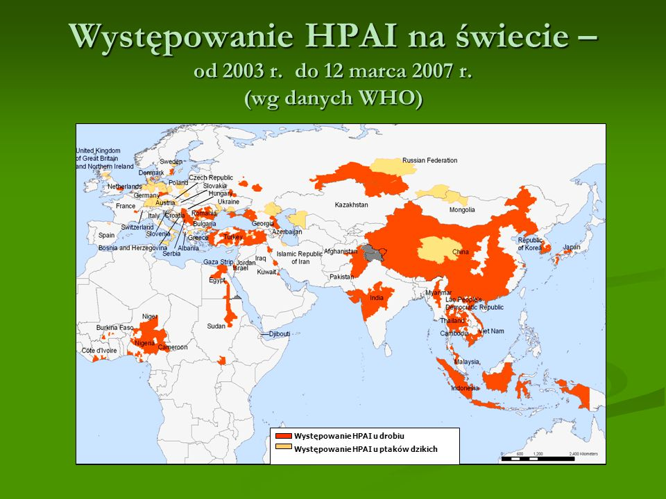 Występowanie HPAI na świecie – od 2003 r. do 12 marca 2007 r