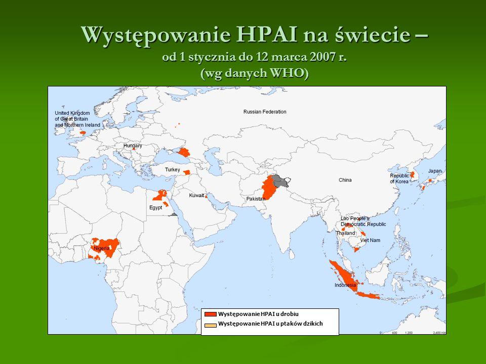 Występowanie HPAI na świecie – od 1 stycznia do 12 marca 2007 r