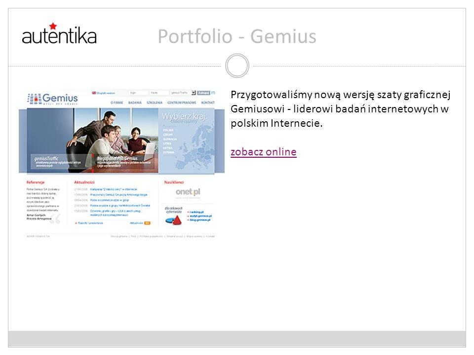 Portfolio - GemiusPrzygotowaliśmy nową wersję szaty graficznej Gemiusowi - liderowi badań internetowych w polskim Internecie.