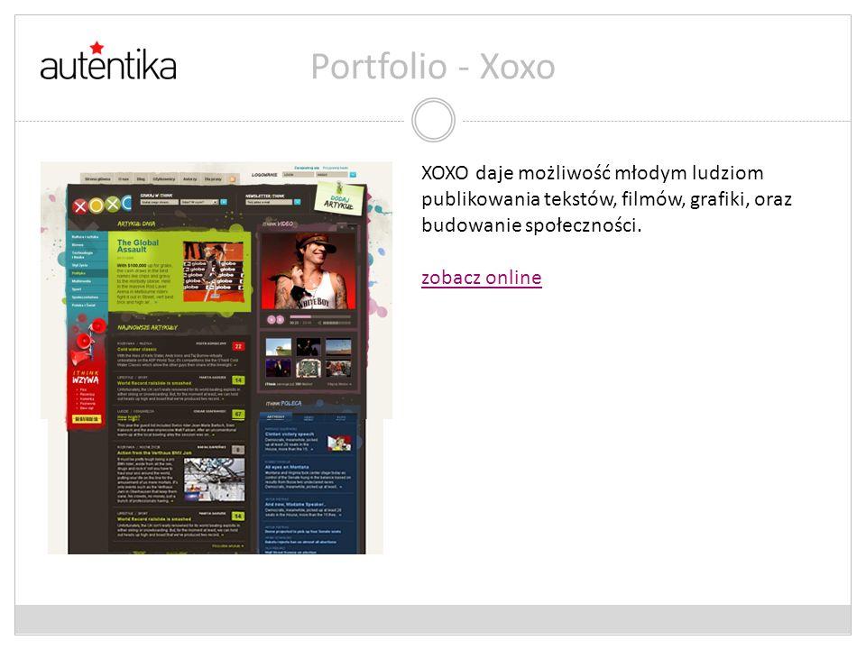 Portfolio - Xoxo XOXO daje możliwość młodym ludziom publikowania tekstów, filmów, grafiki, oraz budowanie społeczności.