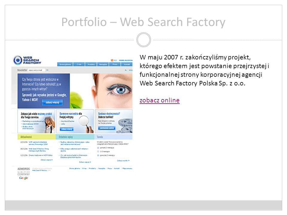 Portfolio – Web Search Factory