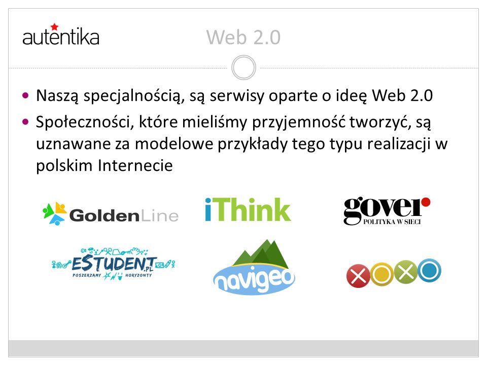 Web 2.0 Naszą specjalnością, są serwisy oparte o ideę Web 2.0
