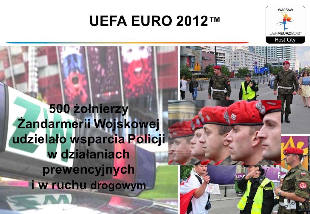 UEFA EURO 2012™500 żołnierzy Żandarmerii Wojskowej udzielało wsparcia Policji w działaniach prewencyjnych i w ruchu drogowym.