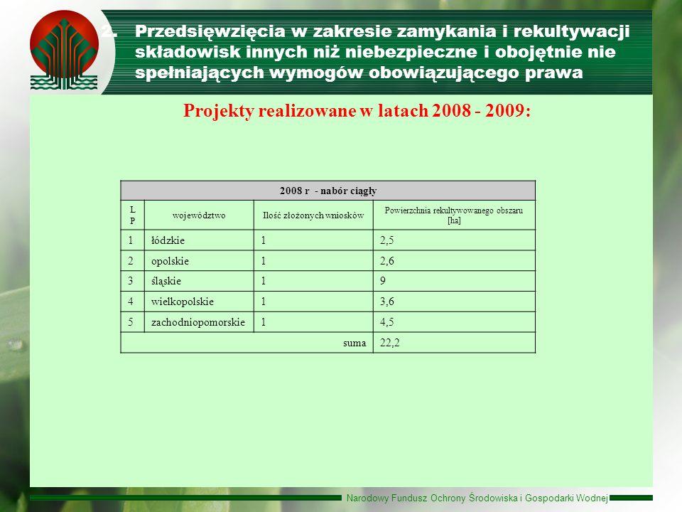 Projekty realizowane w latach 2008 - 2009: