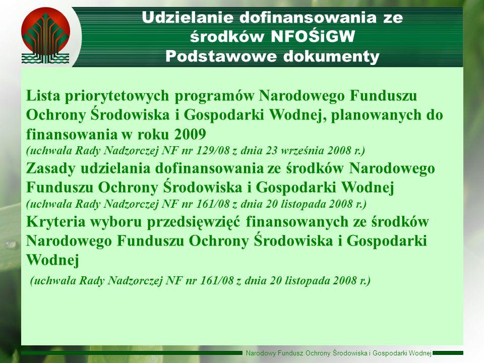 Udzielanie dofinansowania ze środków NFOŚiGW Podstawowe dokumenty