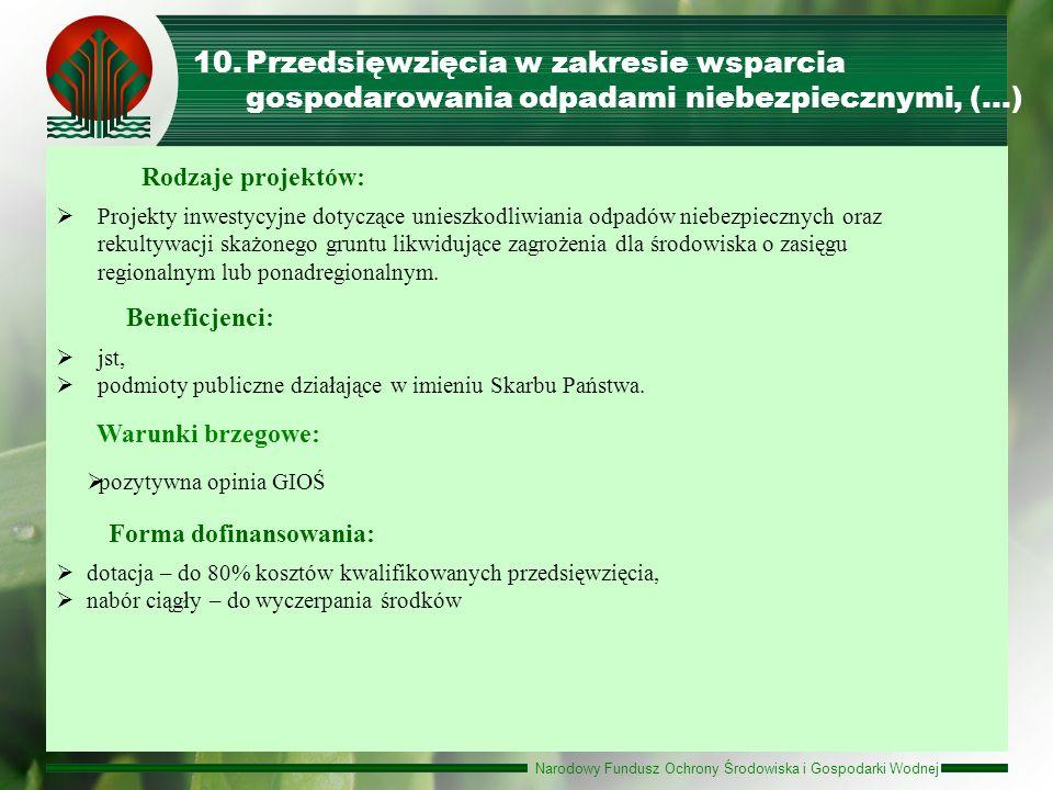 Przedsięwzięcia w zakresie wsparcia gospodarowania odpadami niebezpiecznymi, (…)