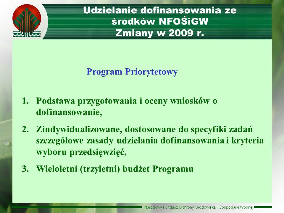 Udzielanie dofinansowania ze środków NFOŚiGW Zmiany w 2009 r.