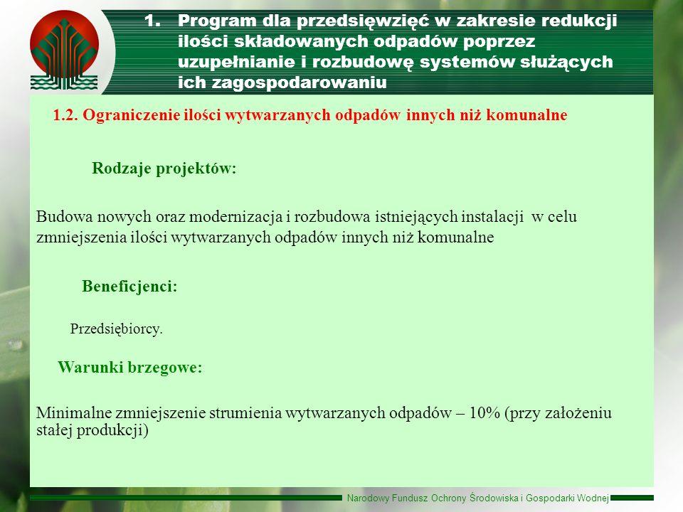 Rodzaje projektów: Beneficjenci: Warunki brzegowe: