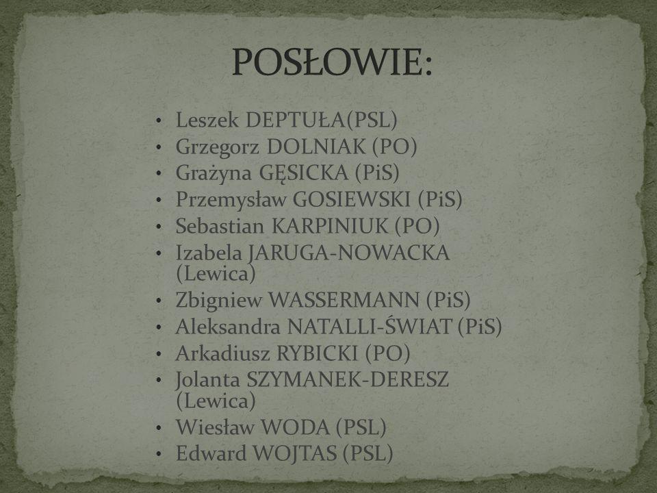 POSŁOWIE: Leszek DEPTUŁA(PSL) Grzegorz DOLNIAK (PO)
