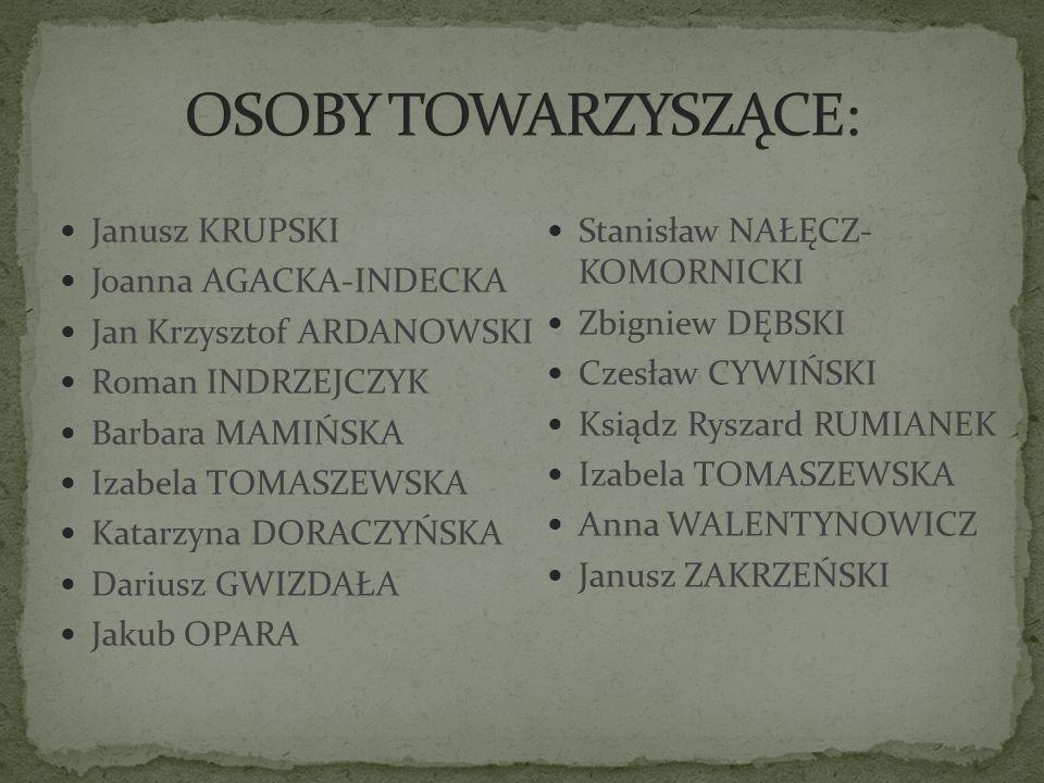 OSOBY TOWARZYSZĄCE: Janusz KRUPSKI Stanisław NAŁĘCZ- KOMORNICKI