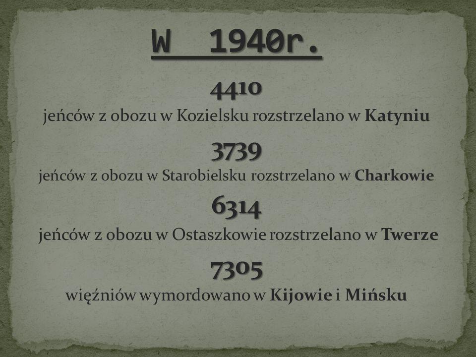 W 1940r. 4410. jeńców z obozu w Kozielsku rozstrzelano w Katyniu. 3739. jeńców z obozu w Starobielsku rozstrzelano w Charkowie.