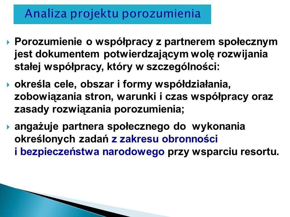 Analiza projektu porozumienia