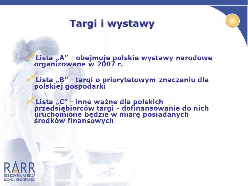 """Targi i wystawy Lista """"A - obejmuje polskie wystawy narodowe organizowane w 2007 r."""
