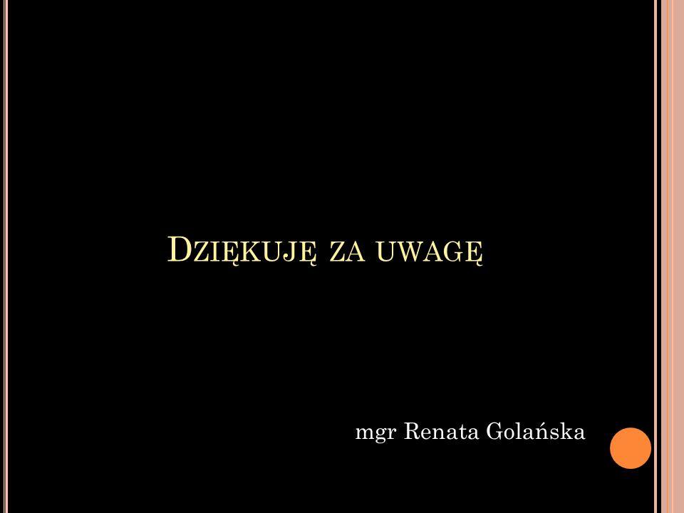 Dziękuję za uwagę mgr Renata Golańska