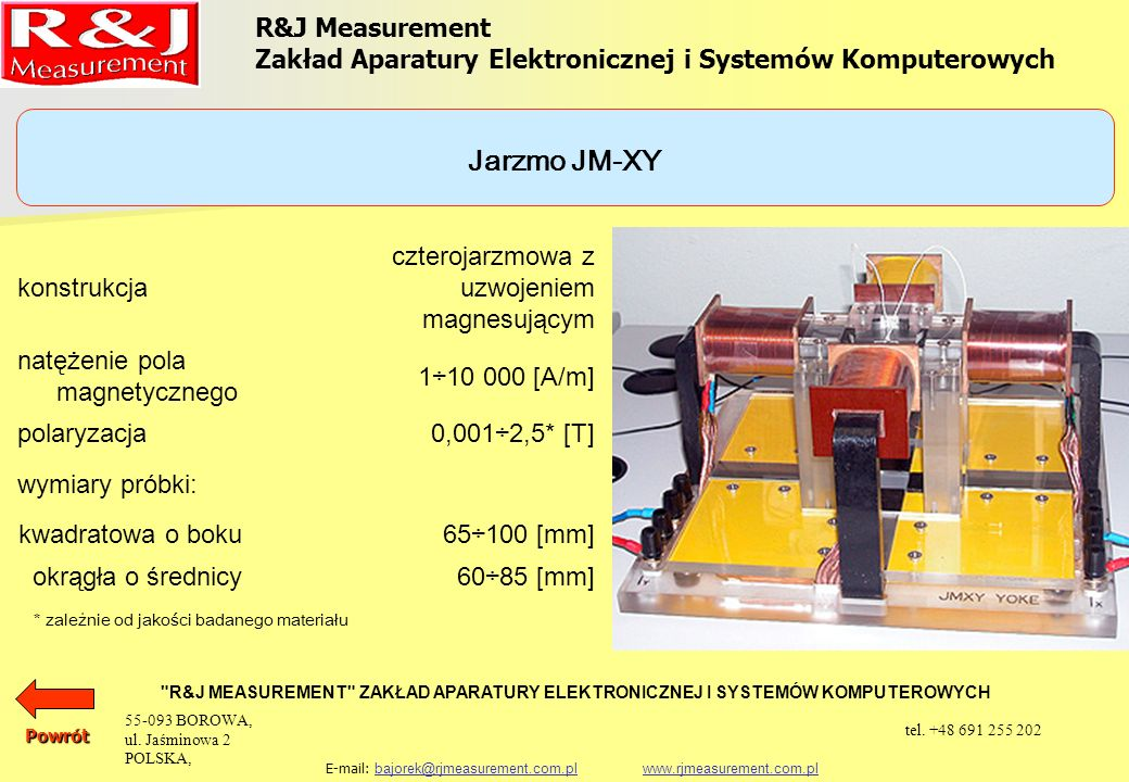 Jarzmo JM-XY R&J Measurement