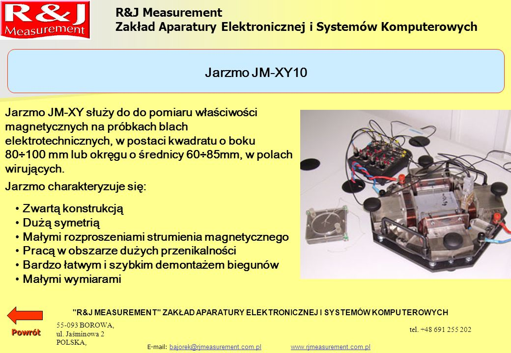 Jarzmo JM-XY10 R&J Measurement