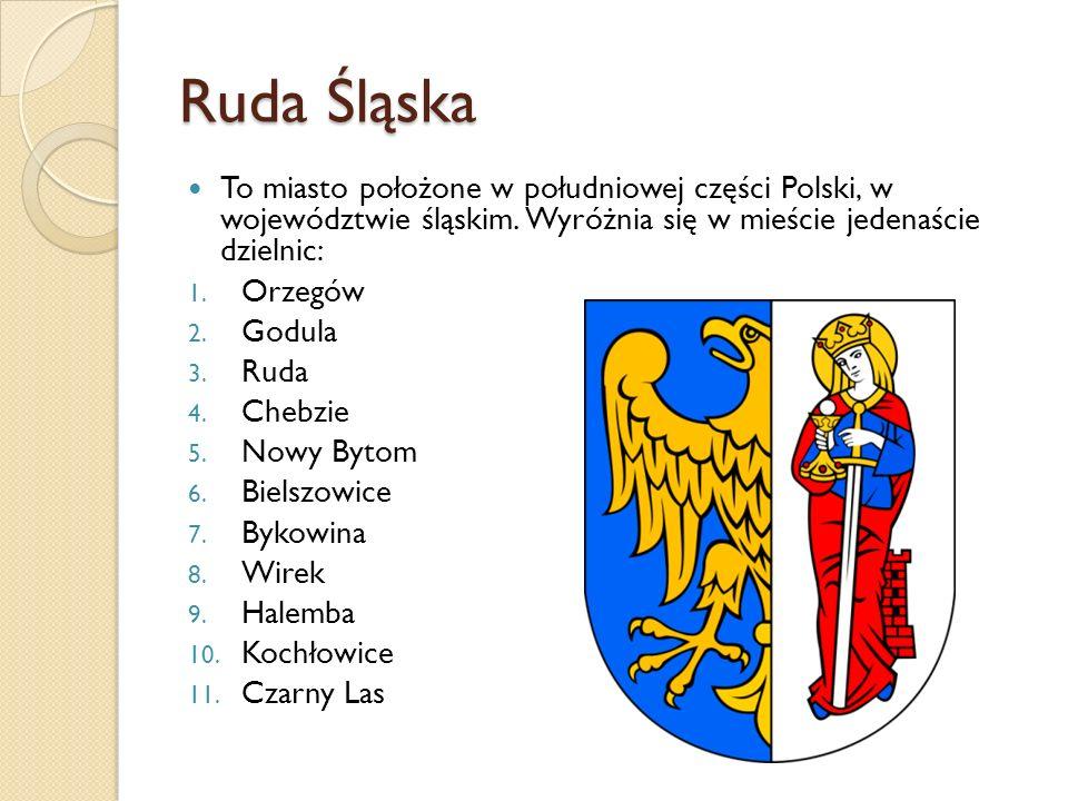 Ruda Śląska To miasto położone w południowej części Polski, w województwie śląskim. Wyróżnia się w mieście jedenaście dzielnic: