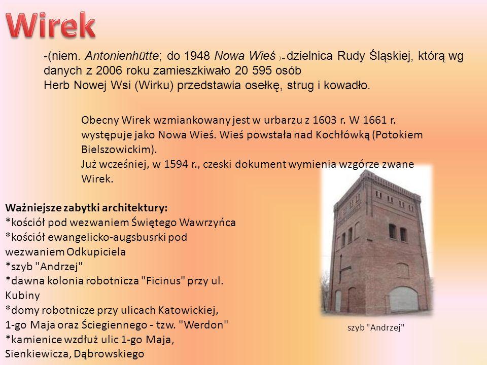 Wirek -(niem. Antonienhütte; do 1948 Nowa Wieś ) – dzielnica Rudy Śląskiej, którą wg danych z 2006 roku zamieszkiwało 20 595 osób.