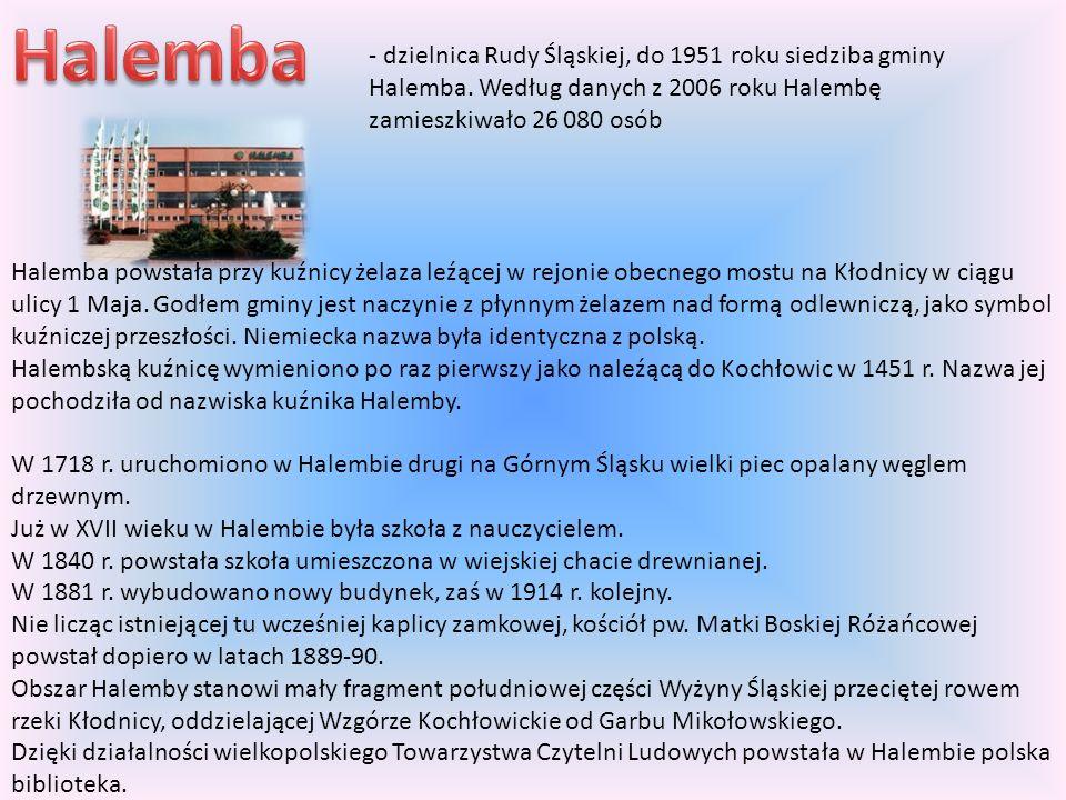 Halemba - dzielnica Rudy Śląskiej, do 1951 roku siedziba gminy Halemba. Według danych z 2006 roku Halembę zamieszkiwało 26 080 osób.
