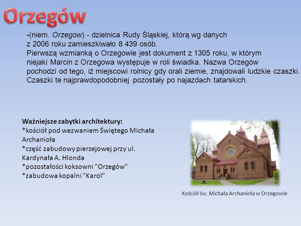 Orzegów -(niem. Orzegow) - dzielnica Rudy Śląskiej, którą wg danych