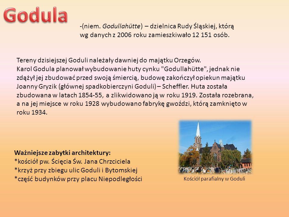 Godula -(niem. Godullahütte) – dzielnica Rudy Śląskiej, którą wg danych z 2006 roku zamieszkiwało 12 151 osób.