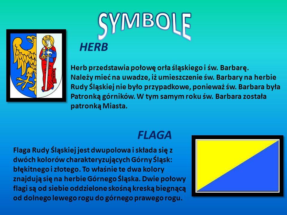 SYMBOLE HERB. Herb przedstawia połowę orła śląskiego i św. Barbarę. Należy mieć na uwadze, iż umieszczenie św. Barbary na herbie.