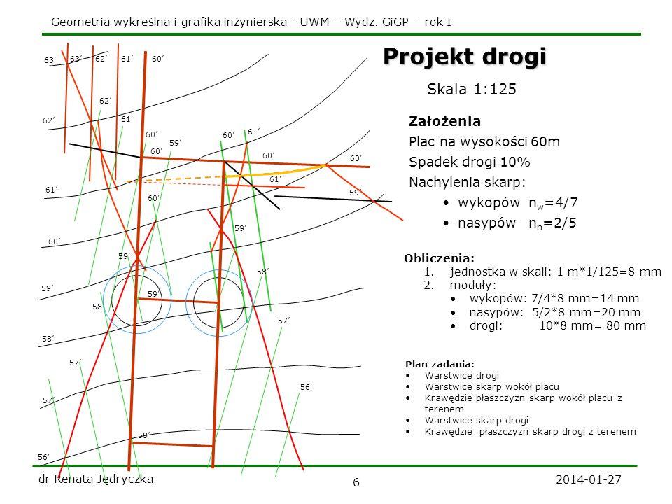 Projekt drogi Skala 1:125 Założenia Plac na wysokości 60m