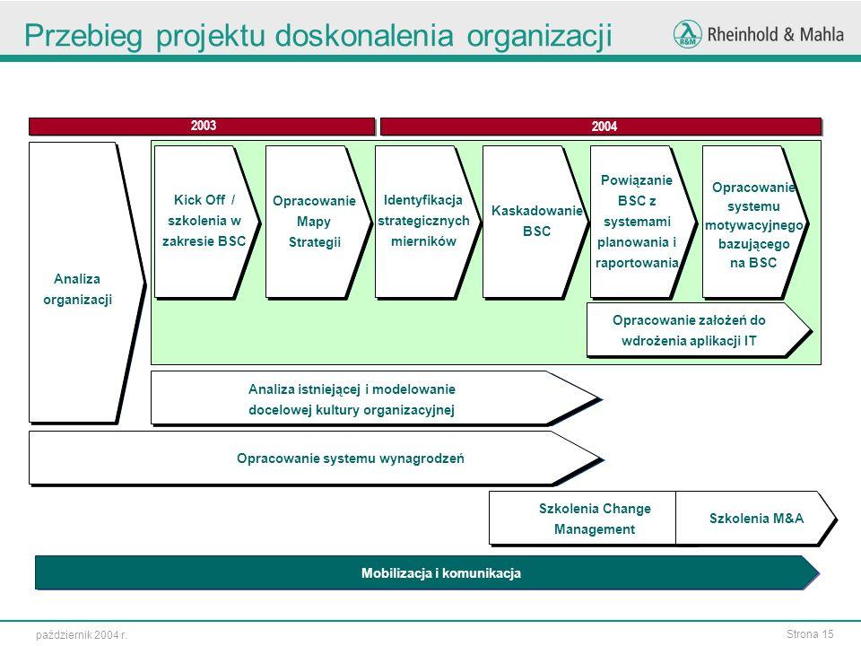 Przebieg projektu doskonalenia organizacji
