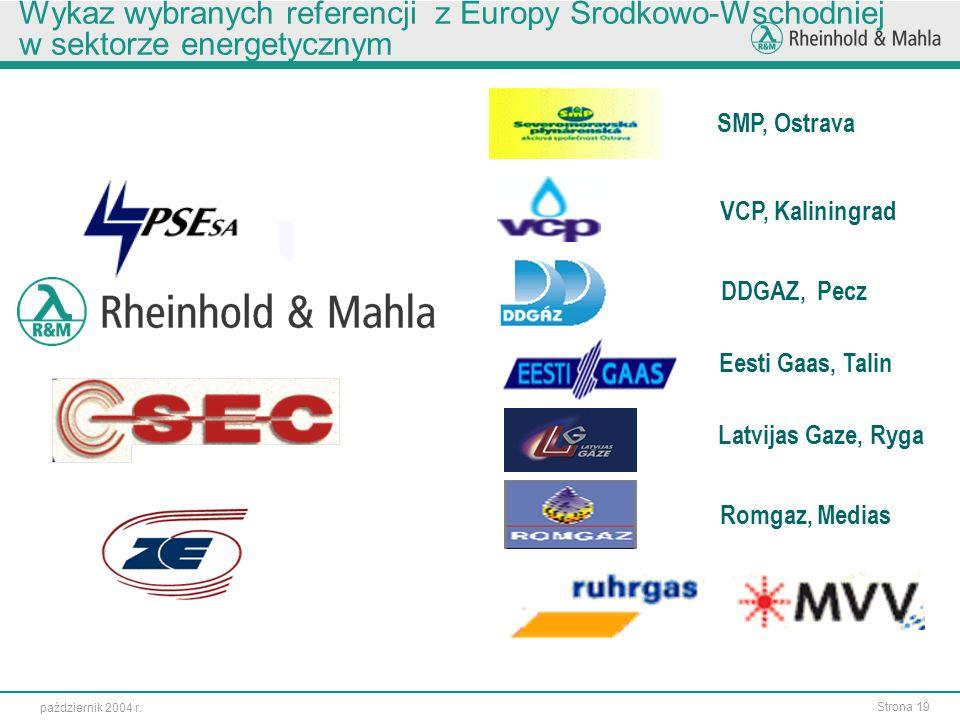 Wykaz wybranych referencji z Europy Środkowo-Wschodniej w sektorze energetycznym