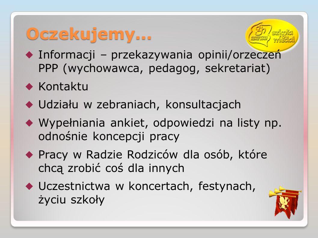 Oczekujemy... Informacji – przekazywania opinii/orzeczeń PPP (wychowawca, pedagog, sekretariat) Kontaktu.