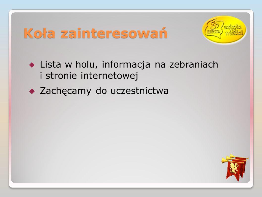 Koła zainteresowań Lista w holu, informacja na zebraniach i stronie internetowej.