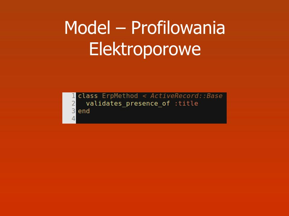 Model – Profilowania Elektroporowe