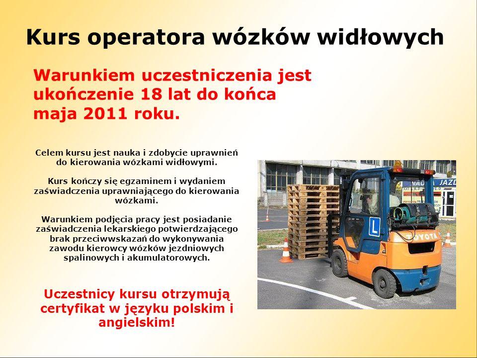 Kurs operatora wózków widłowych