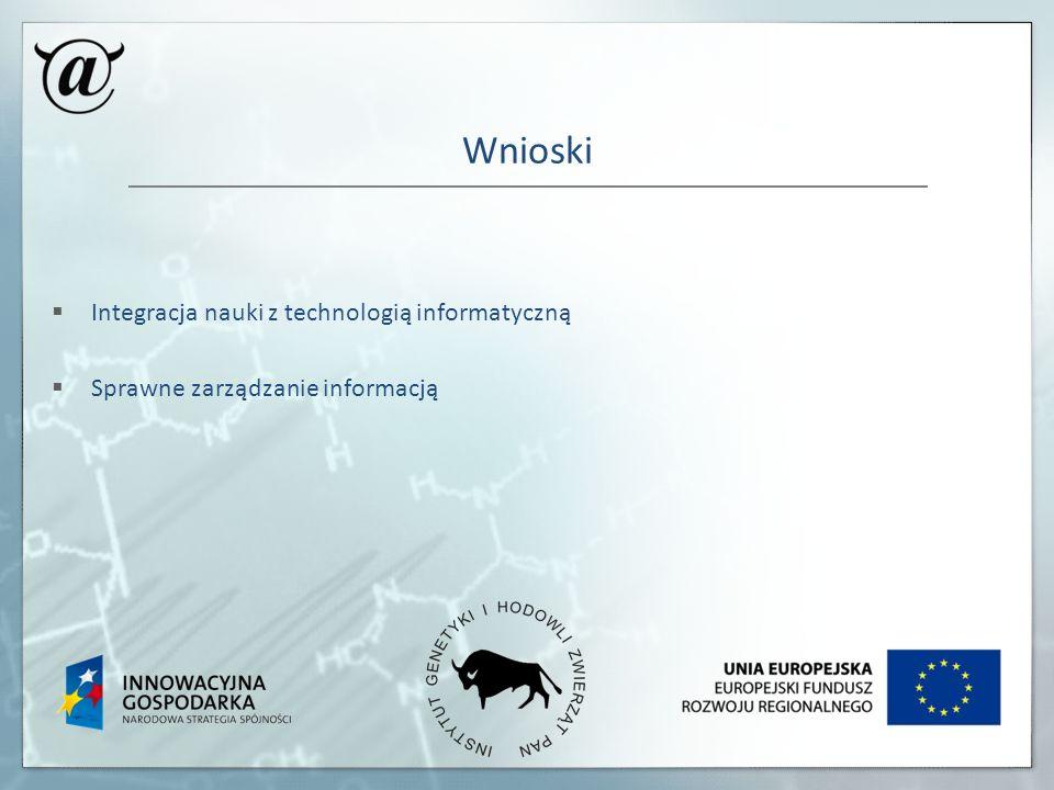 Wnioski Integracja nauki z technologią informatyczną
