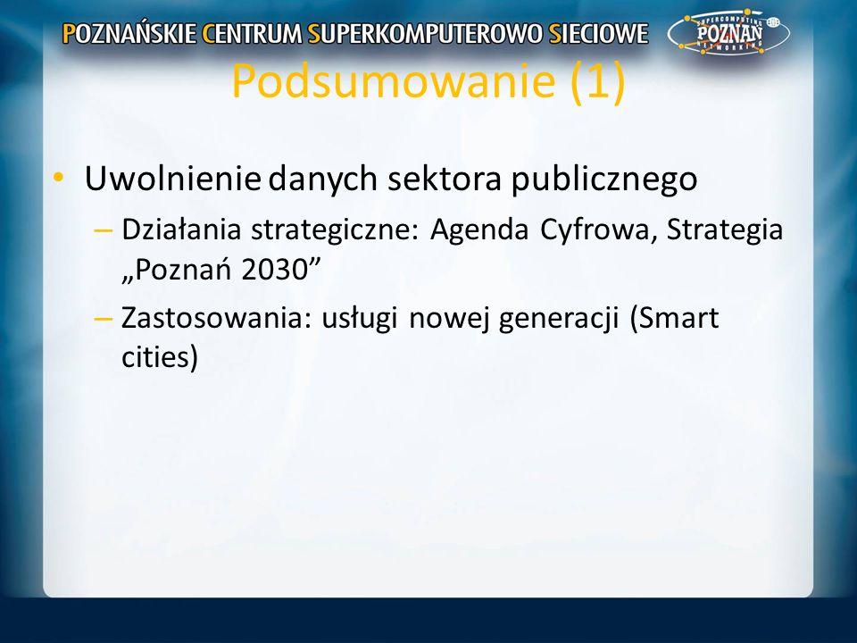 Podsumowanie (1) Uwolnienie danych sektora publicznego