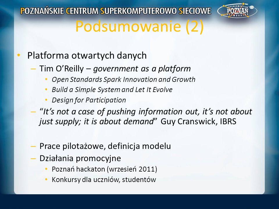 Podsumowanie (2) Platforma otwartych danych