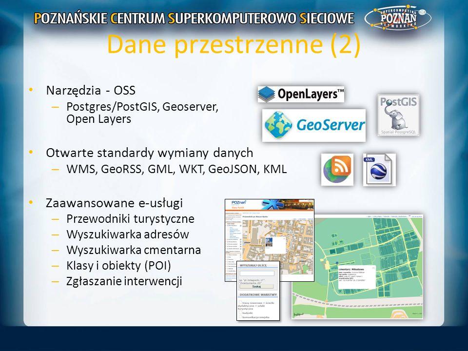 Dane przestrzenne (2) Narzędzia - OSS Otwarte standardy wymiany danych
