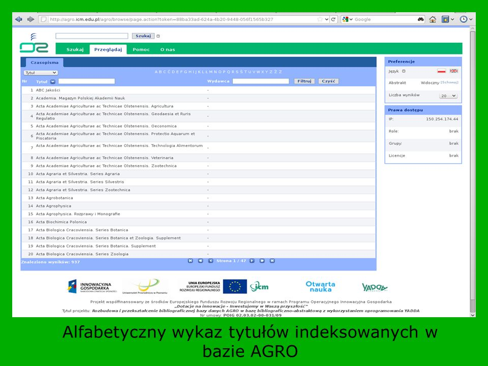 Alfabetyczny wykaz tytułów indeksowanych w bazie AGRO