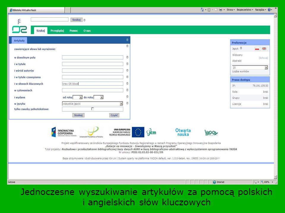 Jednoczesne wyszukiwanie artykułów za pomocą polskich