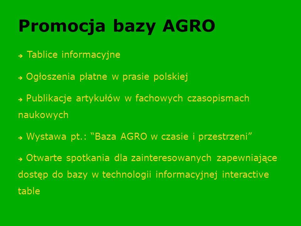 Promocja bazy AGRO Tablice informacyjne