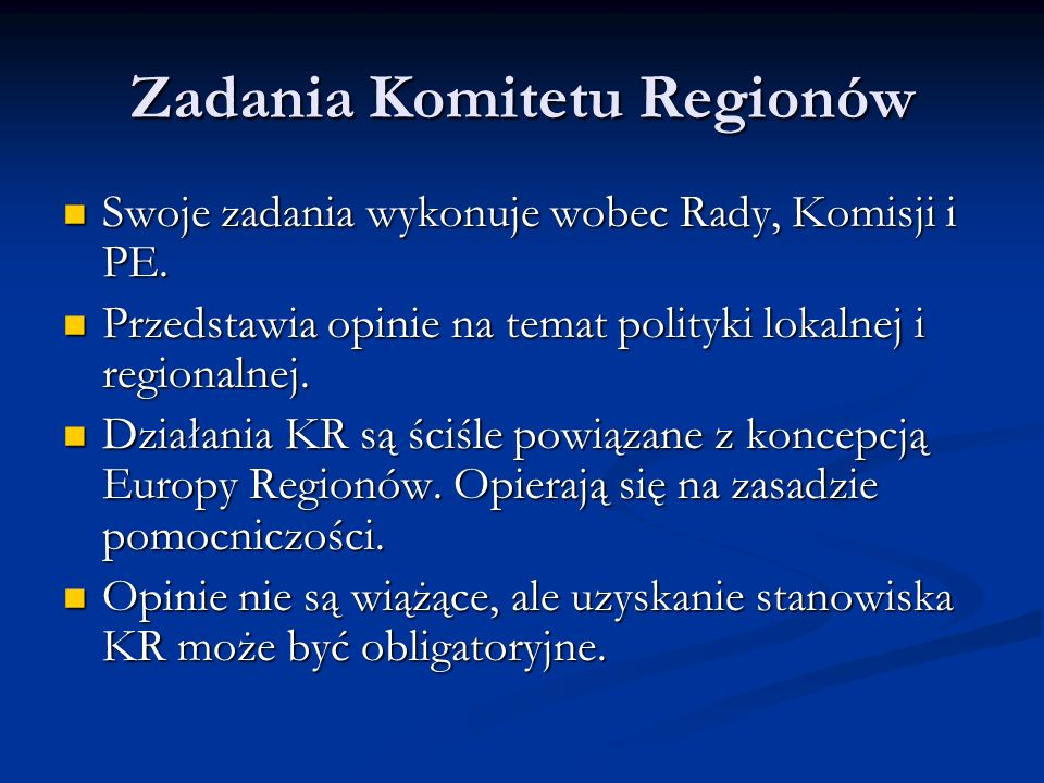 Zadania Komitetu Regionów