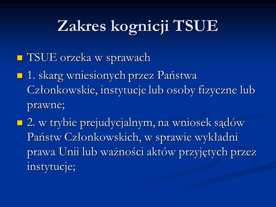 Zakres kognicji TSUE TSUE orzeka w sprawach