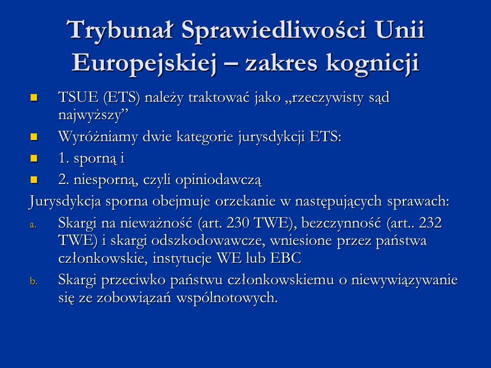 Trybunał Sprawiedliwości Unii Europejskiej – zakres kognicji