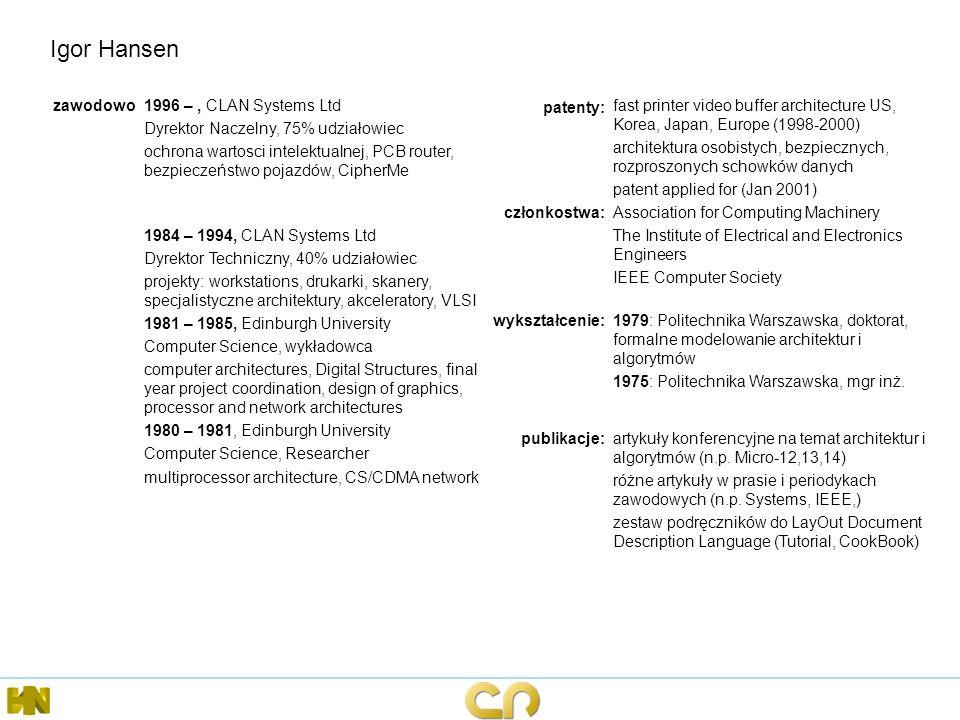 Igor Hansen zawodowo 1996 – , CLAN Systems Ltd