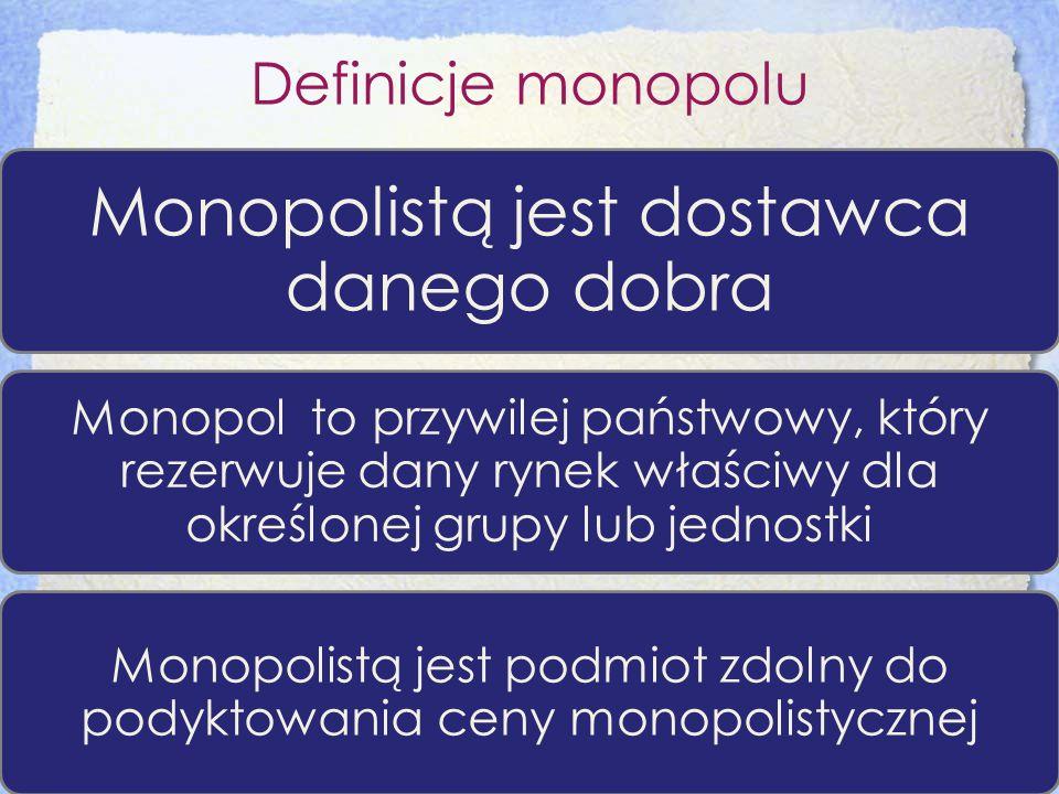 Definicje monopolu Monopolistą jest dostawca danego dobra