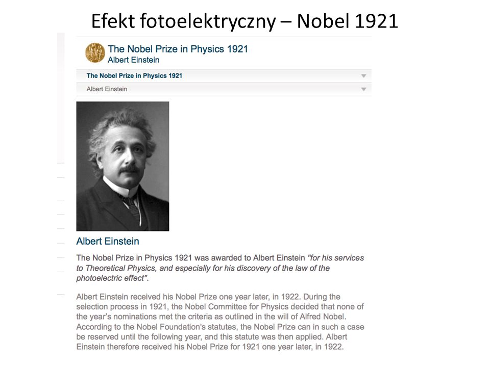 Efekt fotoelektryczny – Nobel 1921