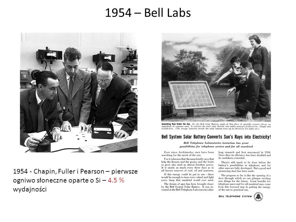 1954 – Bell Labs 1954 - Chapin, Fuller i Pearson – pierwsze ogniwo słoneczne oparte o Si – 4.5 % wydajności.