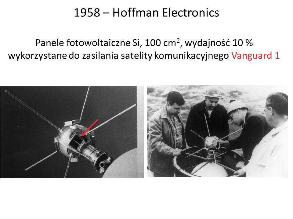 1958 – Hoffman Electronics Panele fotowoltaiczne Si, 100 cm2, wydajność 10 % wykorzystane do zasilania satelity komunikacyjnego Vanguard 1.