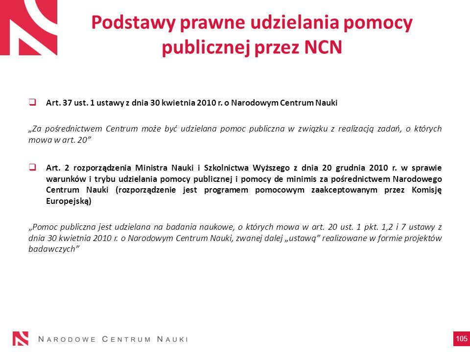 Podstawy prawne udzielania pomocy publicznej przez NCN